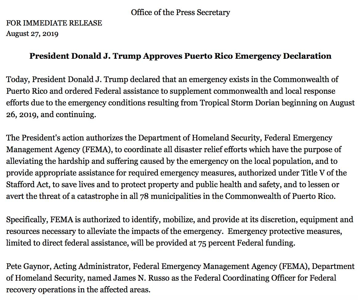 photo:Office of the Press Secretary;desc:US president has approved an emergency declaration