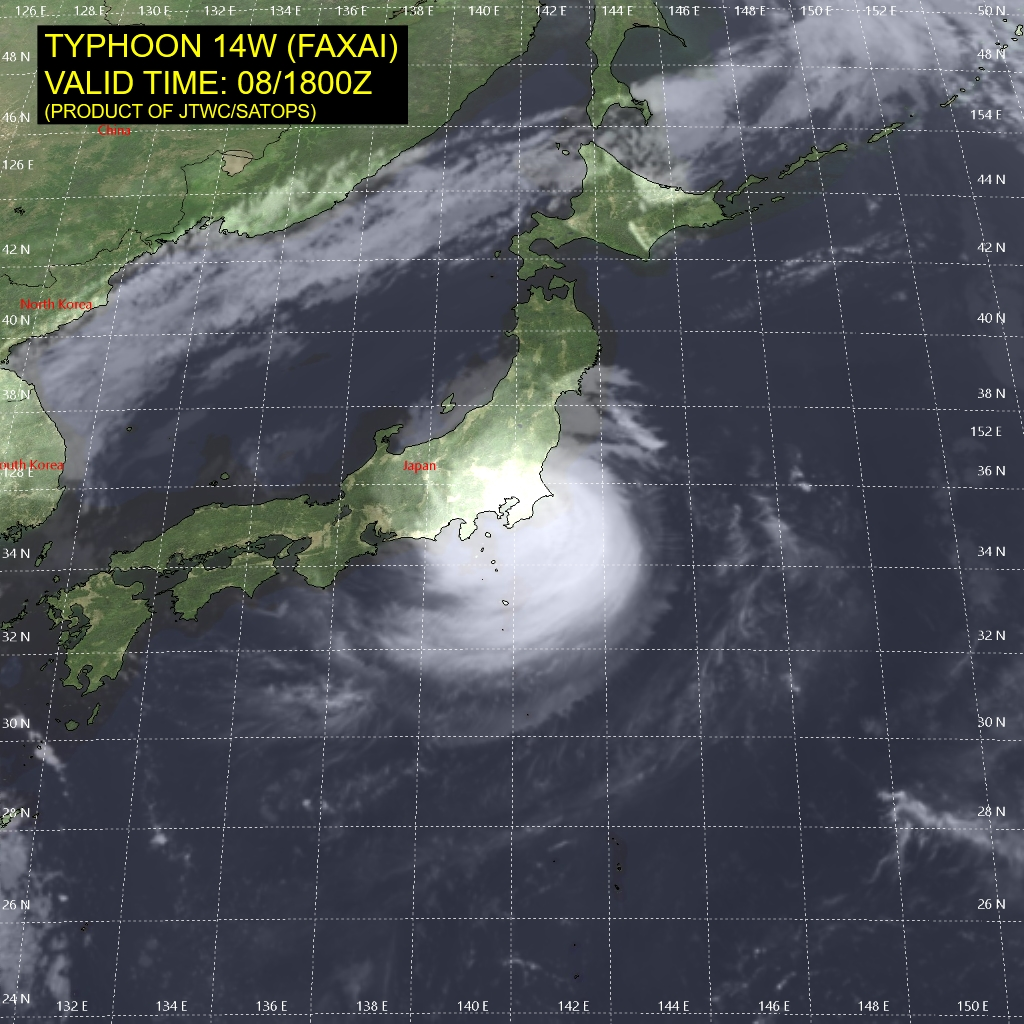 photo:JTWC/SATOPS;desc:Typhoon Faxai (14W) on 8 September 2019 at 6:00 p.m. UTC
