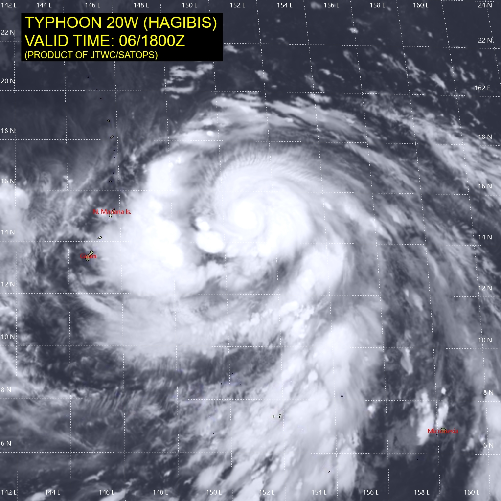 photo:JTWC/SATOPS;desc:Typhoon Hagibis at 6 p.m. UTC;