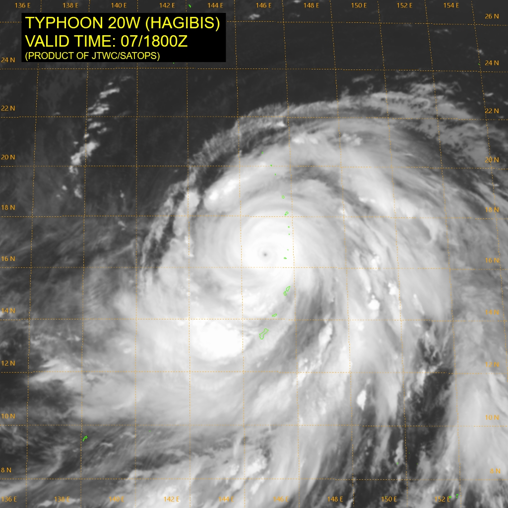photo:JTWC/SATOPS;desc:Typhoon Hagibis on October 7th at 6 p.m. UTC;