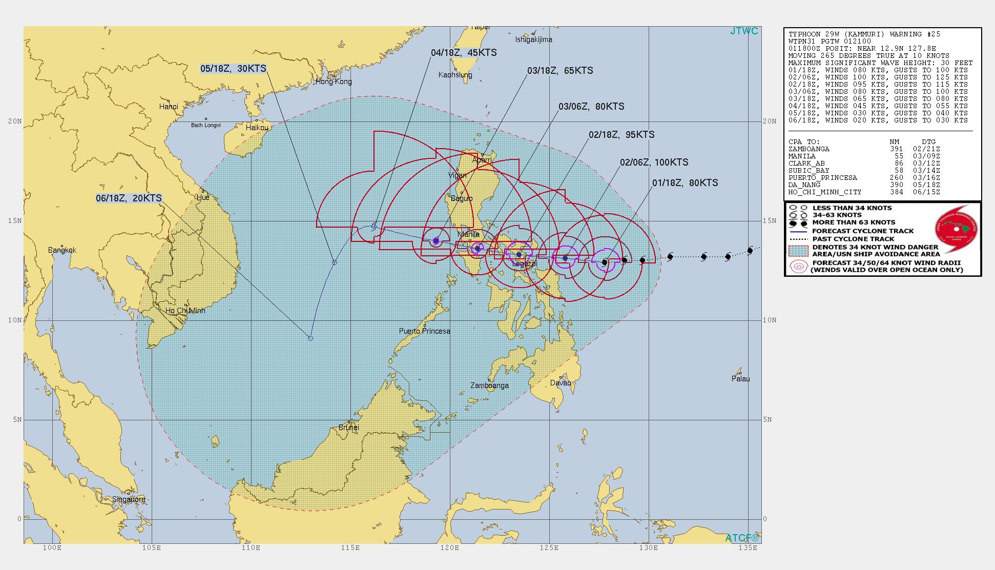 photo:JTWC;Typhoon Kammuri cone (Warning #25);