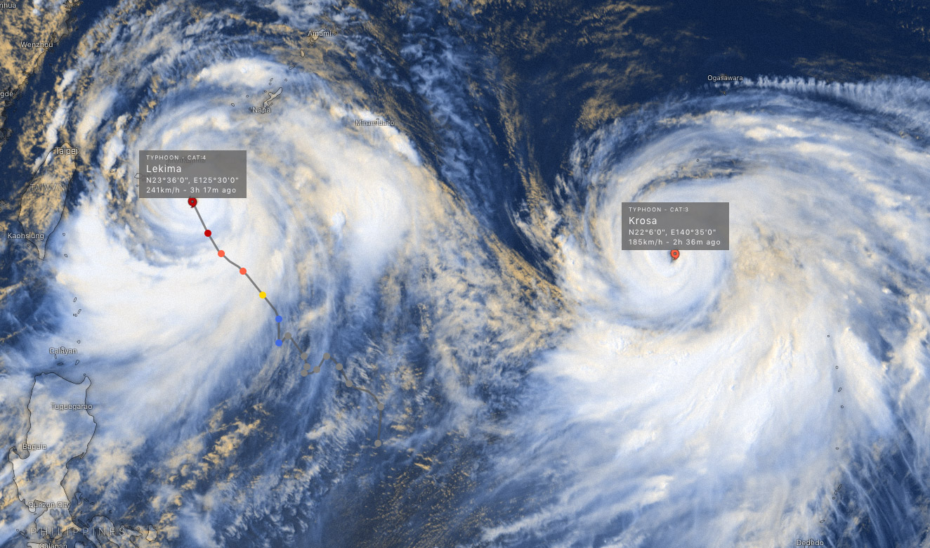 photo:Windy.com;desc:Typhoons Lekima and Krosa satellite imagery; link:https://www.windy.com/-Hurricane-tracker/hurricanes?satellite,23.282,125.398,5,p:off