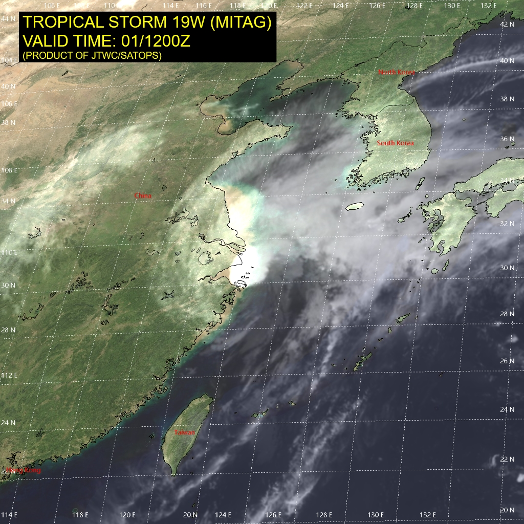 photo:JTWC/SATOPS;desc:Typhoon Mitag on October 1st at 12:00 p.m. UTC