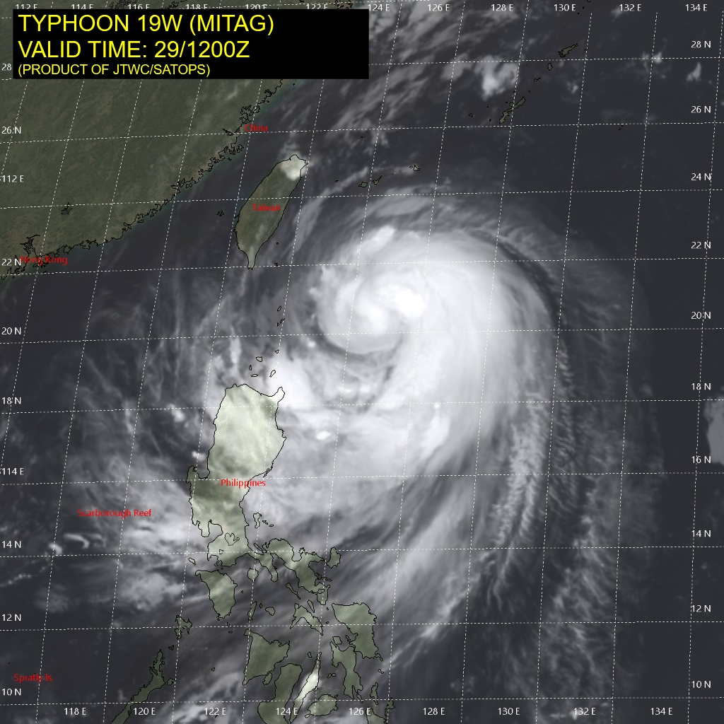 photo:JTWC/SATOPS;Typhoon Mitag - 29 Sept. at 12 p.m. UTC