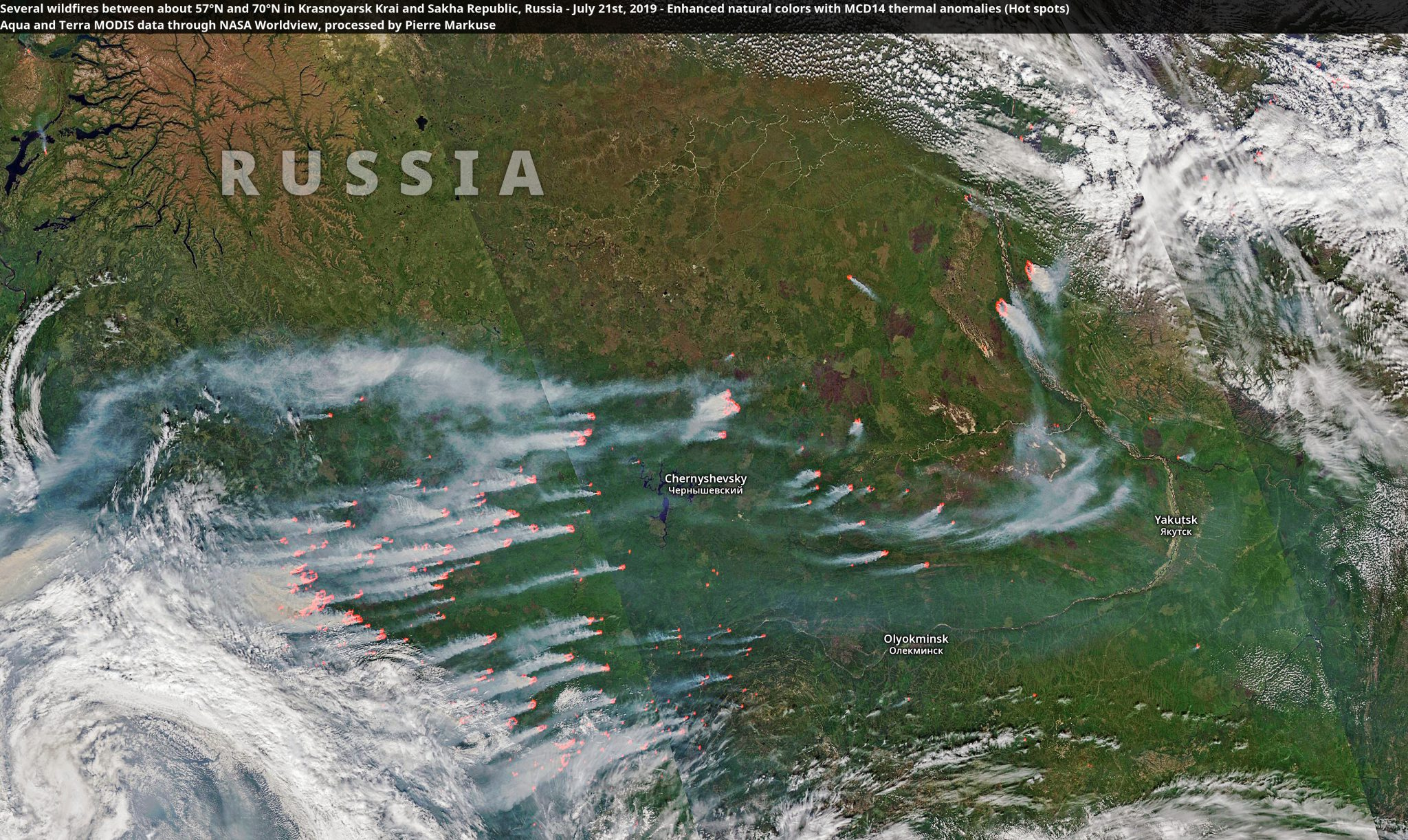 desc:Several wildfires between about 57°N and 70°N in Krasnoyarsk Krai and Sakha Republic, Russia