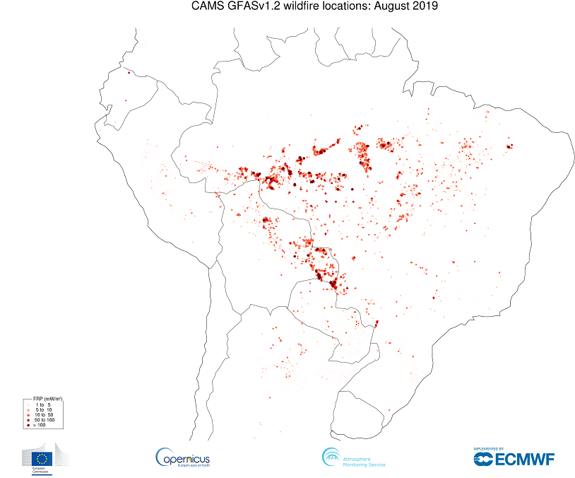 photo:Copernicus Atmosphere Monitoring Service/ECMWF;desc:Fire in South America