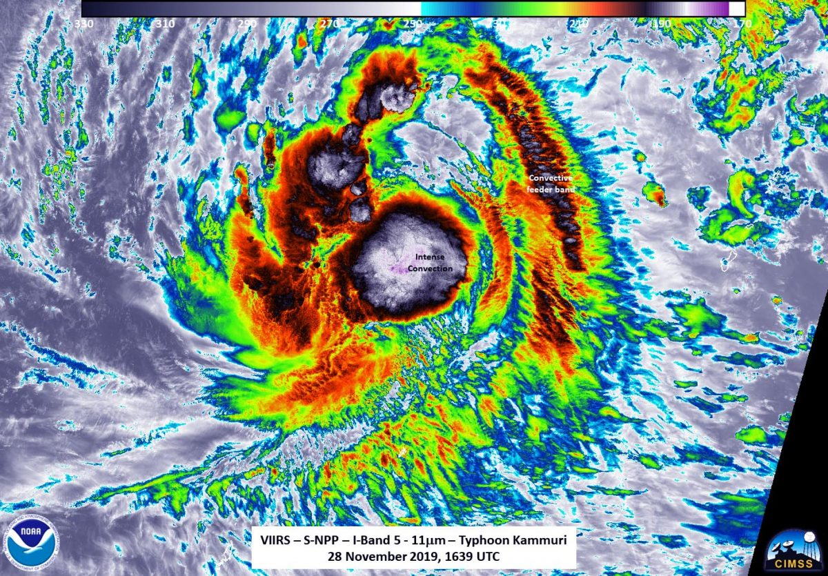 photo:NASA/NOAA/UWM-SSEC-CIMSS, William Straka III;desc:The Visible Infrared Imaging Radiometer Suite (VIIRS) instrument aboard NASA-NOAA'S Suomi NPP provided an infrared image of Kammuri on Nov. 28 at 1.39 p.m. EST (1639 UTC) that shows it is consolidating and strengthening. The circulation center was obscured by the central dense overcast.